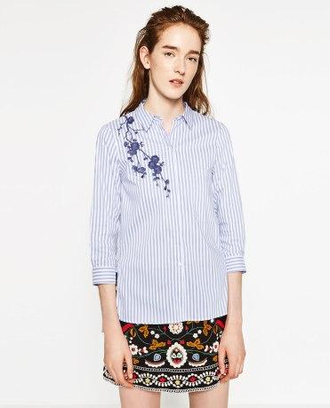 Chemise rayée brodée Zara 39.95€